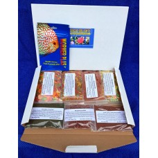 Discus delights no frill's pizza box style hamper pack with a 500 gallon pack of wormer plus.