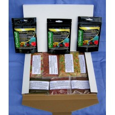 Discus Delights No Frill's Pizza Box Style Hamper pack plus 3 x  5,000 gallon pack's of Cloverleaf Absolute wormer +.
