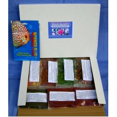 Discus delights no frill's pizza box style refill hamper pack with a 500 gallon pack of wormer plus.